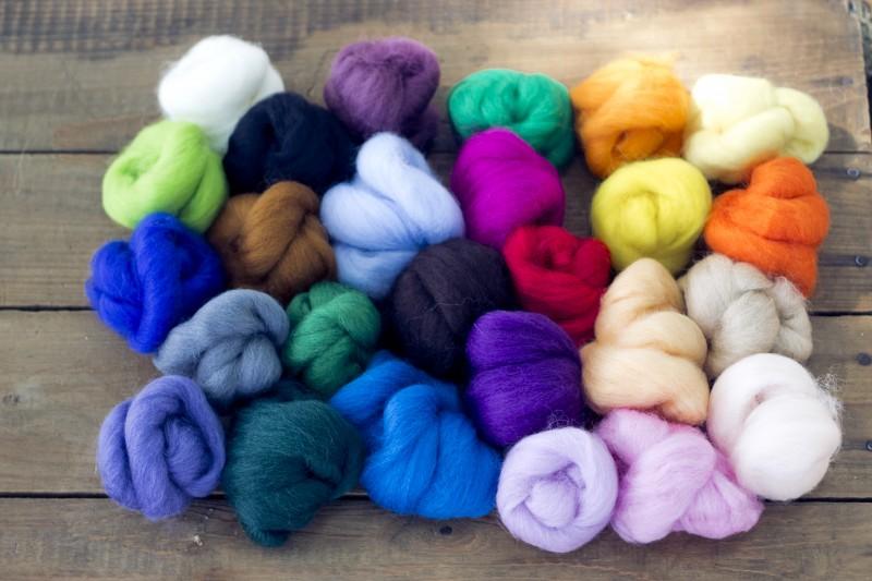 Dyed merino top assortment, fiber sampler