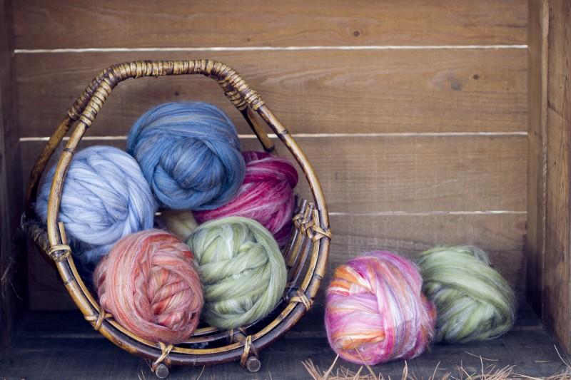 Basket of Merino and Merino Silk blends